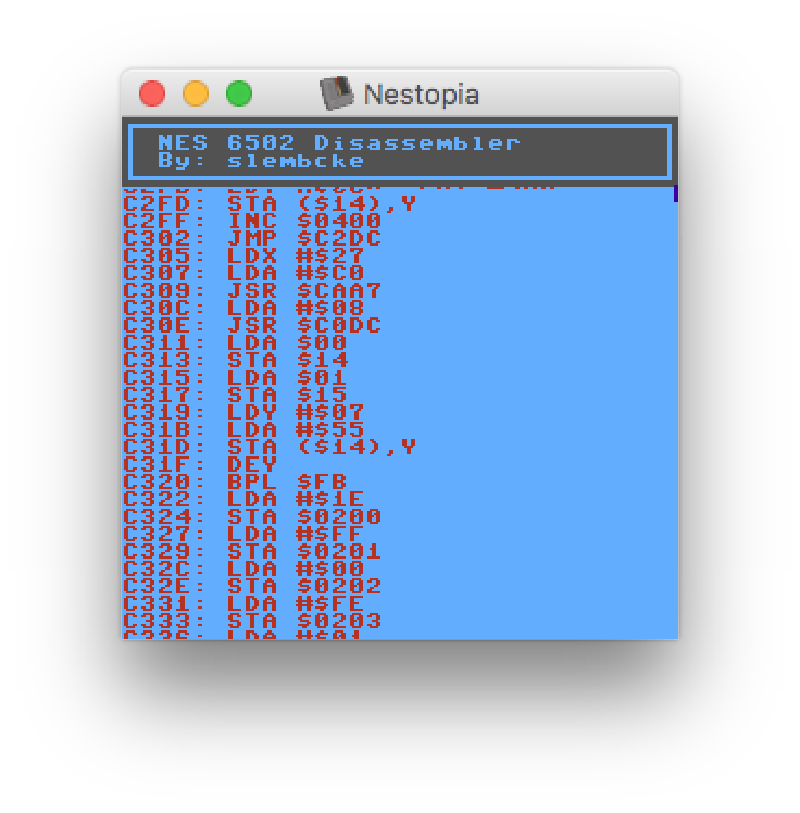 nesdev com • View topic - A 6502 disassembler that runs on
